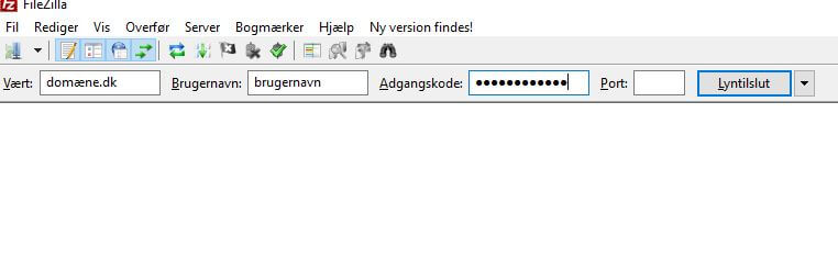tilslut ftp med filezilla og installer wordpress