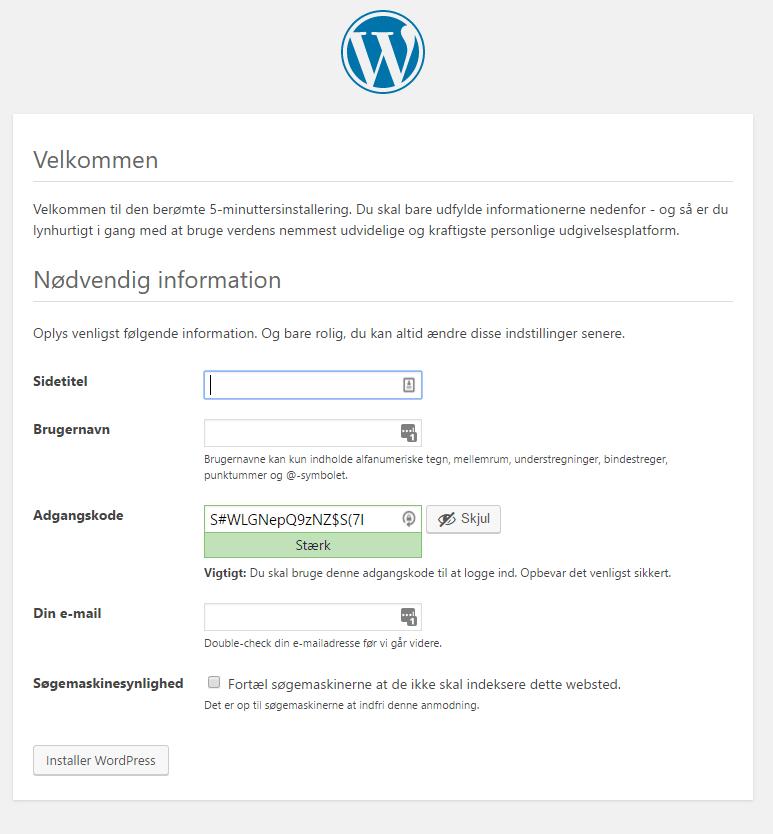 de sidste oplysninger i installationen af wordpress