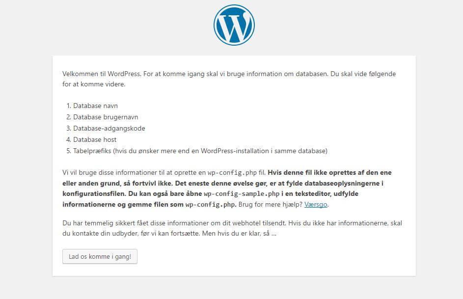 installation af wordpress