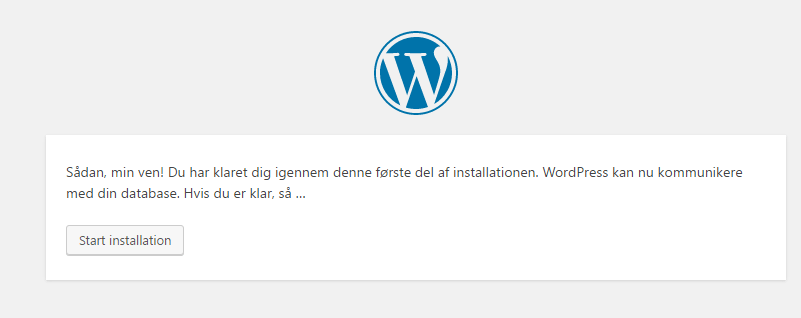 succes - wordpress installation
